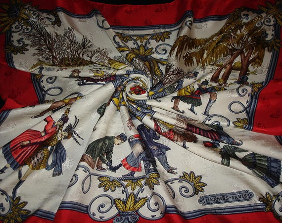 """HERMES scarf """"HIVER JOIES"""" by Metz / Collector sil"""