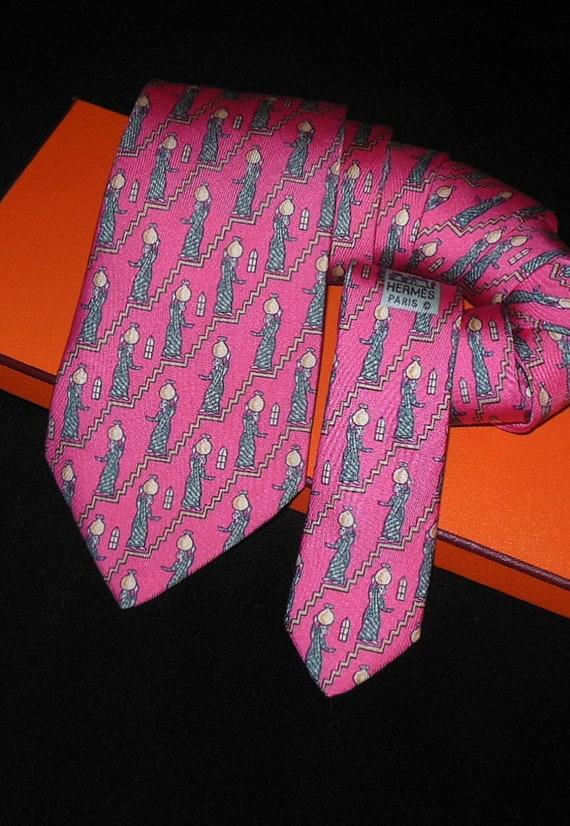Hermes tie Tie / RARE Rose Silk HERMES Tie