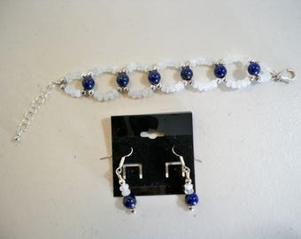Rainbow Moonstone, Lapis, sterling silver bracelet, earrings set