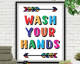 Wash Your Hands PRINTABLE, Wash Your Hands, Wash Your Hands Sign, Wash Your Hands Print, Wash Your Hands Bathroom Decor, Wash Your Hands Art