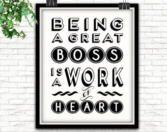 being a great boss is a work of heart gift for boss boss gift gifts for your boss gift ideas for boss gifts for bosses boss gift work