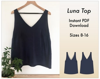 Indie Sewing Pattern   V-neck top sizes 8-16   Digital Lingerie & Loungewear Sewing Pattern With Instructions   Camisole with Darts