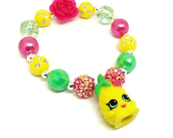 Shopkins Season 10 Pineapple Crush Bracelet Jewelry   Pineapple Shopkins  Premade Bracelet