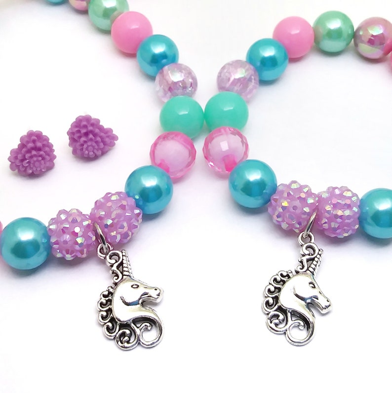 Girls mini gumball stretchy jewelry set Unicorn necklace bracelet earrings jewelry set