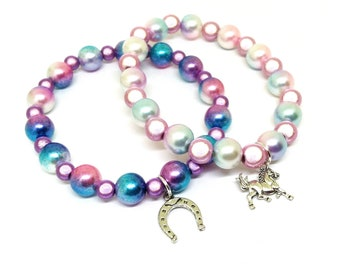 Silver horse bracelet set - Miracle beads and multi colored pearls stacking charm bracelets