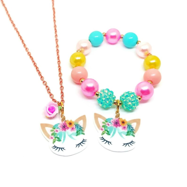 Resin unicorn necklace bracelet jewelry set  Girls unicorn image 0