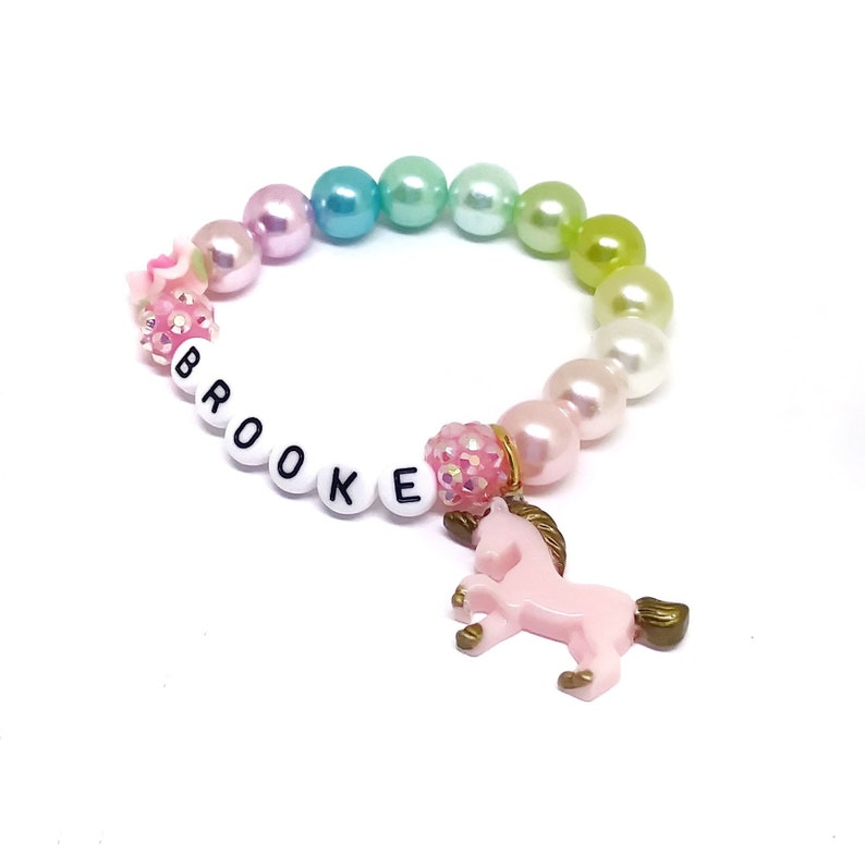 d7cecf566e93 Girls unicorn name bracelet Personalized unicorn jewelry