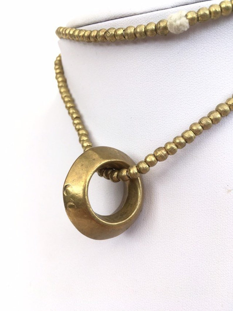CIRCLE OF LIFE - Ethiopian Ring Necklace, A Silver and Brass Mix  Ethiopia   Africa