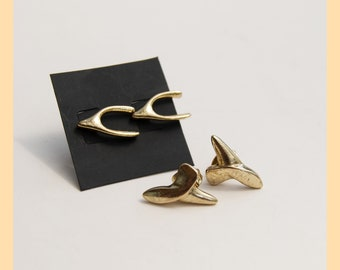 GOLDEN SHARK TEETH - Brass Earrings, South Africa