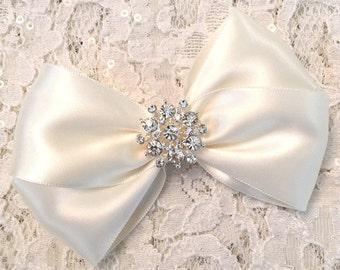 3cc5278943c14 Ivory satin hair bow