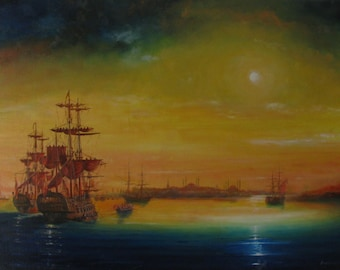 Southern night on the roadstead, original oil painting on canvas