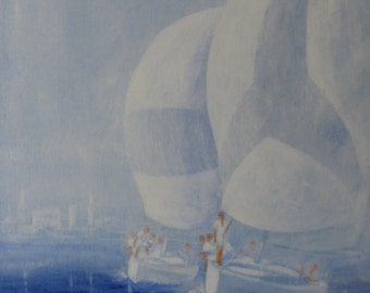 Yachts, original oil painting on canvas
