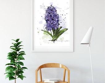 "Poster ""Jacinthe violette"" (purple hyacinth) / Purple / Spring flower / Illustration, mural decoration, modern art / Watercolor style"