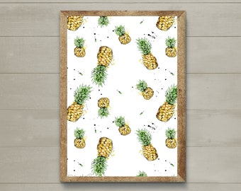 """Poster """"Pineapples pattern"""" / Big sizes / Yellow / Appetizing illustration, fruits / Hand-drawn / High definition printing"""