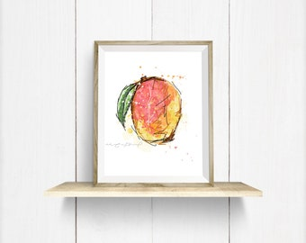 """Poster """"Mango"""" / 5 x 7 or 8 x 10 inches / Mango, appetizing illustration, fruits / Hand-drawn / High definition printing"""