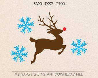 Reindeer SVG Christmas SVG Vector file Cricut downloads snowflakes svg Christmas cricut files Reindeer Rudolf svg Happy Holiday Cutting file