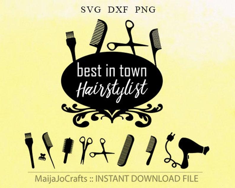 Hairdresser SVG PNG Clipart DXF cut files instant download image 0