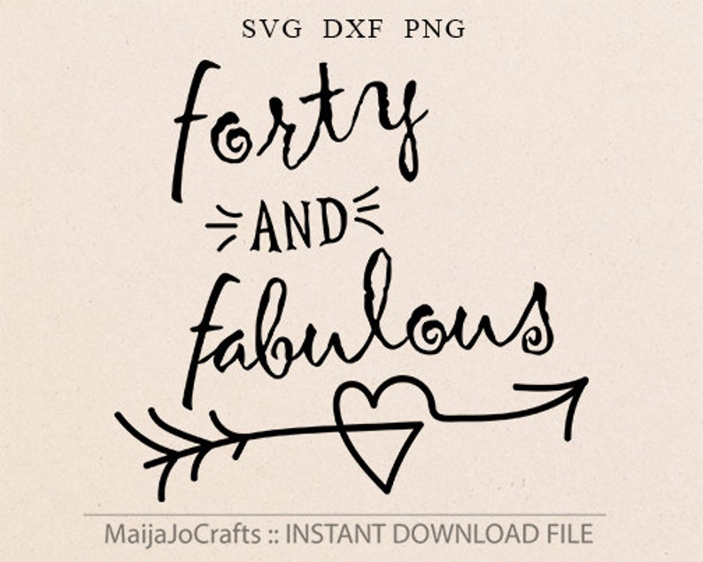 Forty and Fabulous birthday SVG DXF png Cricut downloads image 0