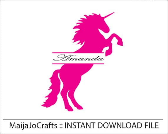 split unicorn Monogram SVG cutting file dxf file Cricut downloads  Silhouette Cameo Cricut designs Clip art Vector file Unicorn cricut files