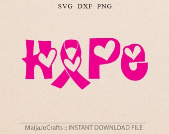 Awareness Ribbon SVG File HOPE Cutting Template breast cancer ribbon svg ribbon Clip Art Cricut downloads Cameo Silhouette designs ribbon
