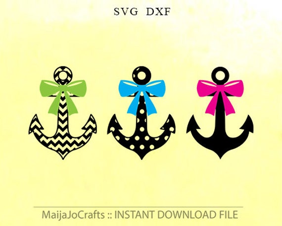 Anchor Bows Svg Dxf Cut File Instant Download Silhouette Cameo Etsy
