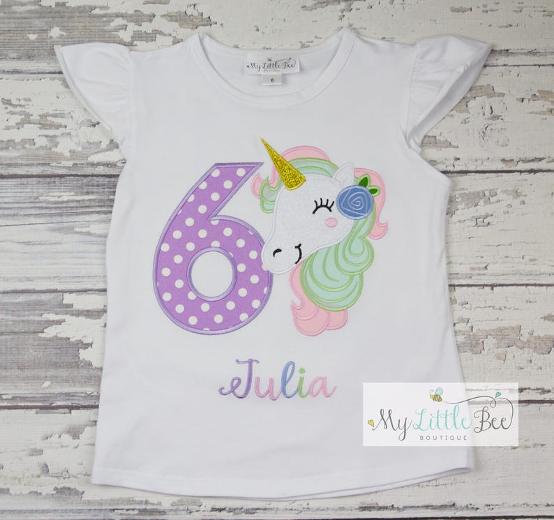4216a561 Unicorn Birthday Shirt - Girls Unicorn Outfit - pastel Unicorn Shirt - Unicorn  Birthday Party-any age