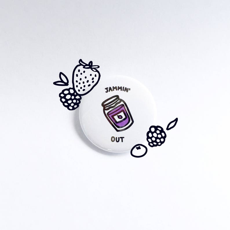 Cute Punny Jamming Out Pin  Black and White Pinback Buttons  image 0