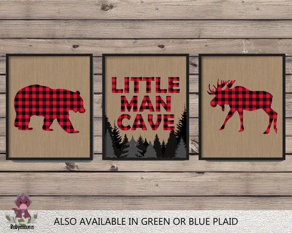 Buffalo Plaid Wall Art Set Of 3 Prints Little Man Cave Etsy