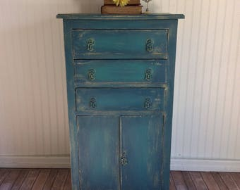 Blue Cabinet, Vintage Cabinet, Blue Liquor Cabinet, Entryway Cabinet, All  Proceeds To Charity