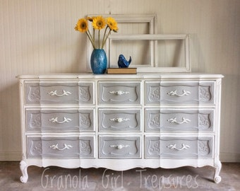 SOLD*******French Provinicial Dresser, Custom Finish, Hand Painted, Buffet, Credenza, shabby Chic, Changing Table