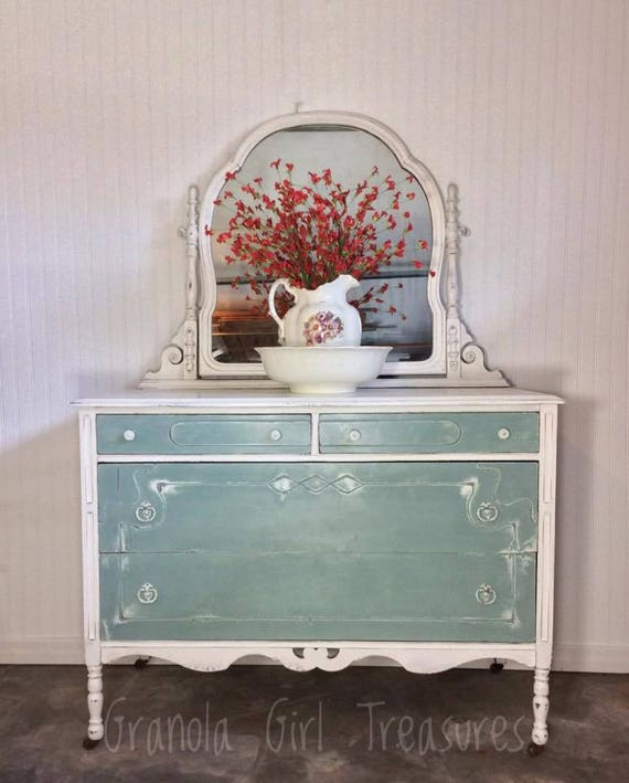 Soldvintage Hand Painted Duck Egg White Dresser Mirrored Etsy