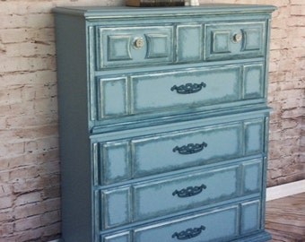 SOLD** Hand Painted Dresser, Blue Vintage Dresser, Tall Boy Dresser