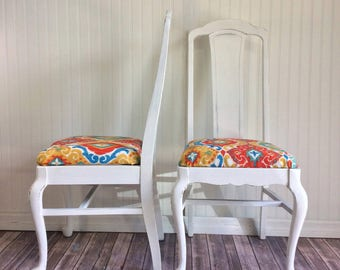 Vintage Custom Chairs, upholstered chairs, antique chairs, dining chairs, white chairs, Pair chairs, shabby chic chairs