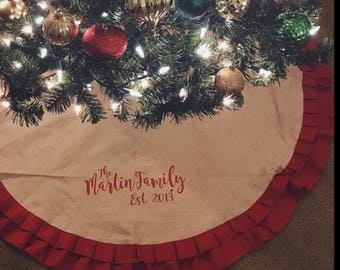 more colors ruffle burlap tree skirt 52 personalized christmas