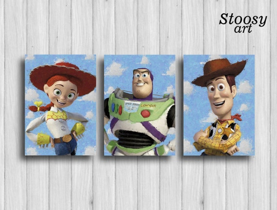 toy story poster set of 3 toy story wall art woody buzz | Etsy