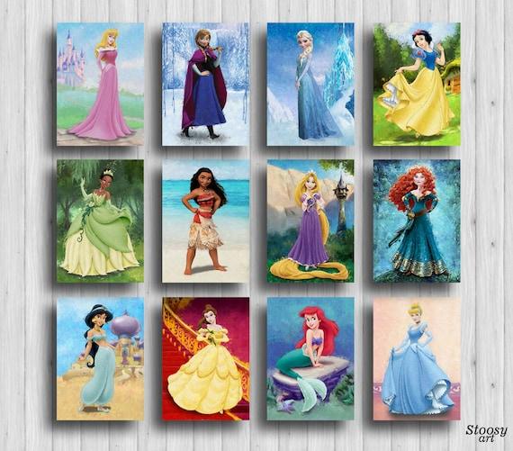 disney princess prints set of 12 disney room decor girls | Etsy