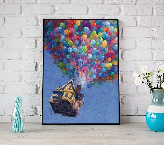 up print balloon house up movie poster pixar up house wall art etsy