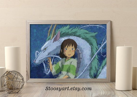 Spirited Away Print Dragon Haku Art Anime Decor Studio Ghibli Etsy