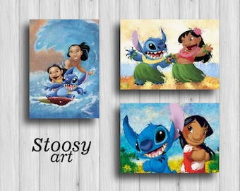 lilo and stitch disney print set of 3 lilo stitch nursery decor lilo and stitch art gift