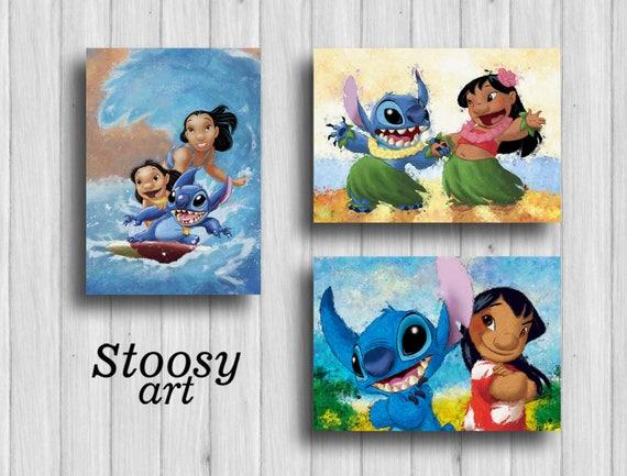 Lilo And Stitch Disney Print Set Of 3 Lilo Stitch Nursery | Etsy