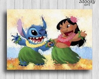lilo and stitch art disney print lilo stitch poster lilo and stitch gift disney poster