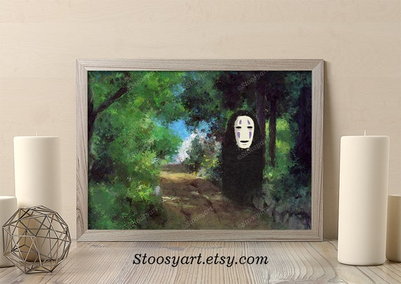 Spirited Away No Face Poster Anime Watercolor Etsy
