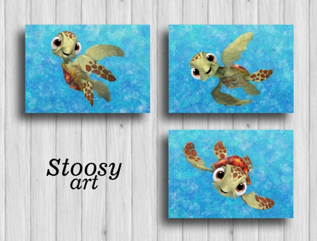 squirt finding nemo poster set of 3 sea turtle wall art | Etsy