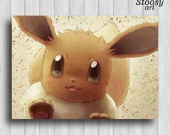 Eevee pokemon print anime decor manga wall art pokemon gifts eevee room