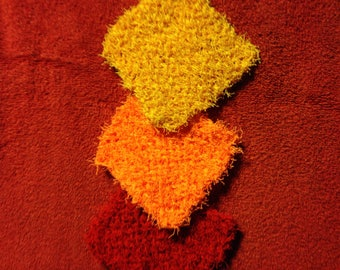 Knitted Scrubbies in Fire Colors #4