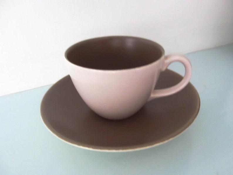 1x Poole Pottery Mushroom and Sepia Twin Tone Tea Cup and Saucer