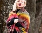 Plus size wool boho poncho, Oversized knit vest, Knitted transformers, Cocoon wrap top, Knitted vest hoodie, Extra Large rainbow cowl, Scarf