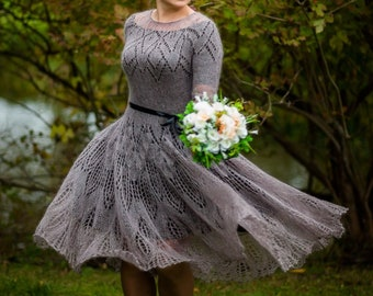 fe595aab5e6d2c Mohair lace knitted wedding dress