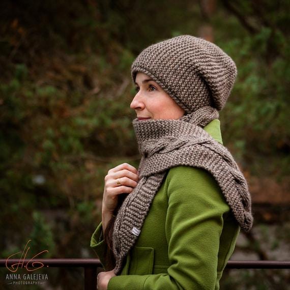 Hand knit merino wool hat with fleece lining Double winter  28ffeff64c84