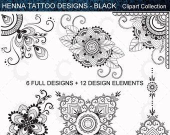 Henna Tattoo Clipart Etsy